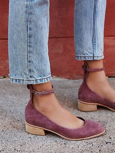 Jeffrey Campbell x Free People Purple Suede Boulevard Block Flat