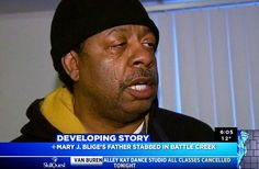 """""""Michael Thomas, the roommate of Thomas Blige, speaks after his return from visiting Thomas at the hospital in Battle Creek, Michigan.....  The pair reportedly began arguing after Blige spotted the woman deflating the tires on his Ford SUV outside his Battle Creek apartment.  He is said to have gone outside to confront her. They argued, before she allegedly plunged the knife into his body three times - including once in his neck."""""""