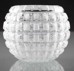 Vintage 10 cm Op-Art Glas Vase Kugelvase klar matt Rechtecke H1D