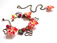 Red Flower Jewelry Set floral jewelry by BrightFloralJewelry