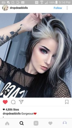 Red scene and hair piercings girl with