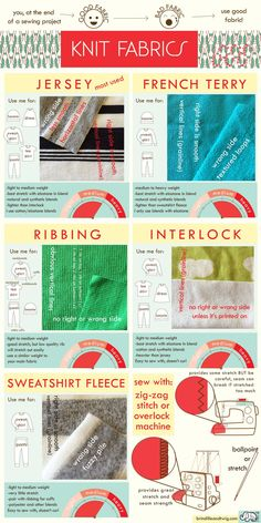 ** GUIDE /OVERVIEW ON COMMON KNIT FABRICS (Brindille & Twig Blog) ** - Some Basics Facts on: Jersey, French Terry, Ribbing, Interlock, & Sweatshirt Fleece - What Each Fabric is Best-suited for, Typical Weight, A couple Facts on each Fabric, Right/Wrong Side Info, Grainline Info... - FYI: ELASTANE = Lycra or Spandex (<-- examples)... It is the Ingredient in Knit Fabric that makes it more stretchy!! ** Make sure Interlock contains Elastane in fabric blend for best stretch
