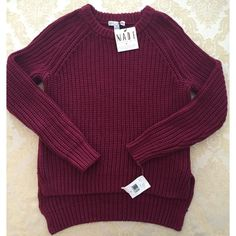 HP 1/29/16 NEW impulse crochet knit sweater XS New with tags by impulse and retails for $79.50. Red wine color. Impulse Sweaters Crew & Scoop Necks