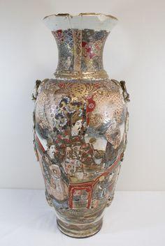 Large antique Japanese satsuma vase