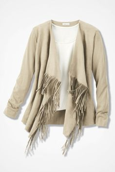 Mixed Medley Fringed Cardigan - Coldwater Creek