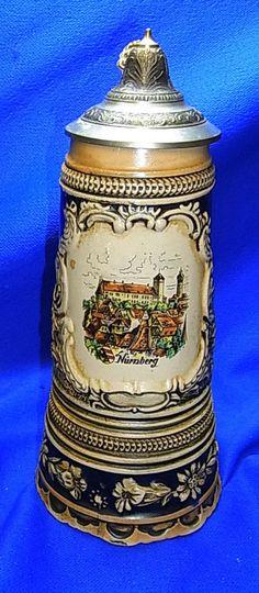 Vintage German Souvenir Nuremberg Tin Top Lidded Beer Stein Musical Box #XX