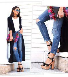 Perfect Match  Maxi cardigan  jeans destroyed  plataforma @carmensteffens com salto de cortiça na produção street chic da minha  @camilacoelho  #FhitsTeam #FhitsTips