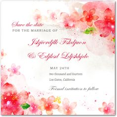 Lively Watercolour Floral Wedding Save The Dates HPS050
