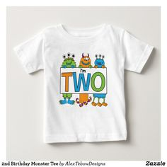 2nd Birthday Monster Tee, orange, blue and green - Alex Tebow Designs