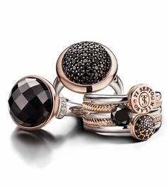 La Bella Vita - Rose gold and black is THE fashion trend for this fall and winter! Ti Sento - available at Daniel Jewelers, Brewster NY Jewelry Trends, Jewelry Sets, Jewelry Accessories, Stone Jewelry, Silver Jewelry, Silver Ring, Stone Rings, Silver Earrings, Looks Vintage