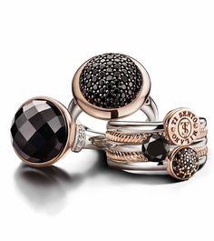 Ti Sento La Bella Vita Collection. Ringen verkrijgbaar in zilver en geel- goudkleurig doublé, zwart en rood- goudkleurig doublé, volledig zilver.