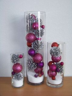 I used red balls and gold pine cones for Christmas. I used red balls and gold pine cones for Christmas. I used red balls and gold pine cones for Christmas. Christmas Vases, Easy Christmas Decorations, Christmas Centerpieces, Simple Christmas, All Things Christmas, Christmas Time, Christmas Wreaths, Centerpiece Ideas, Wedding Centerpieces