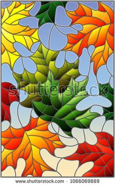 Illustration in stained glass style with colorful leaves  maple trees on a blue background