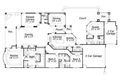 House Plan chp-35493 at COOLhouseplans.com seperated guest suite