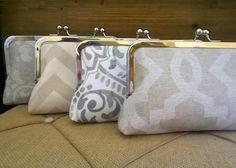 Bridesmaid Clutches Set in Ivory, Cream, Tan- Wedding Gifts, Handmade Custom Order