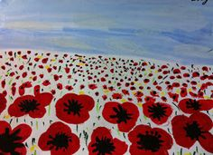 This week, Grade 3 painted these poppy landscapes in honour of Remembrance Day. They were inspired by a lesson I saw on Artsonia here . Remembrance Day Activities, Remembrance Day Poppy, Fall Art Projects, School Art Projects, School Ideas, Poppy Craft For Kids, Poppy Drawing, Jr Art, Art Terms