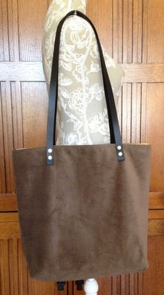 98f7e5fe32fe3 Tote Bag Shopper Large Brown Faux Suede Handmade Pockets Lined by Glory B  Fleece  HandmadebyGloryBFleece  Tote