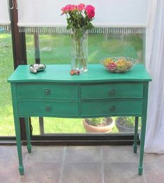 BEAUTIFUL 'SERPENTINE' SIDEBOARD HAND PAINTED SHABY CHIC IN ANNIE SLOAN | eBay Painted with in Annie Sloan 'Florence' eco friendly chalk paint, distressed then waxed with Annie Sloan clear & dark wax mix then buffed to a soft sheen.
