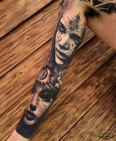 Healed Realistic Sleeve Tattoo From Cris! #realism #realistic #arm #sleeve #black #grey