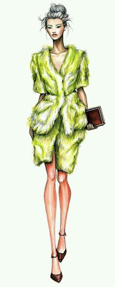 Ideas fashion drawing illustration texture for 2019 Moda Fashion, Fashion Art, Trendy Fashion, School Fashion, Silhouette Mode, Fashion Illustration Dresses, Fashion Illustrations, Manequin, Green Fur