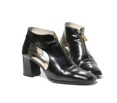 Black Leather Cut Out  Zipper Ankle Boots