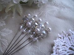 Shabby Chic Stick Pins Glass Beads Pearl Beads Scrapbooking Embellishments Card Making Wedding Set of 5