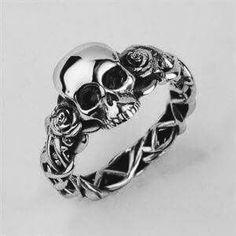 Bespoke Skull & rose wedding ring custom made in solid silver with green tsavorite eyes by leading UK bespoke skull jewellery designer Stephen Einhorn London. Skull Jewelry, Gothic Jewelry, Jewelry Rings, Jewelry Accessories, Jewelry Design, Jewellery Box, Skull Rings, Jewellery Shops, Jewlery