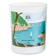 Côte d'Azur :La première bougie parfumée illustrée de La Belle Mèche qui nous propose une interprétation de la garrigue provençale. Made in France - Cire 100% végétale - Mèche en coton, garantie sans plomb - Livrée en boîte