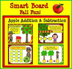 Smart Board Fall Fun for Kinder and First: Includes 68 slides full of fun interactive activities to help students learn counting, skip counting, fact fluency to ten, addition, subtraction and word problems.