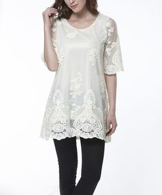 Look at this Simply Couture Beige Crocheted Damask Tunic on #zulily today!