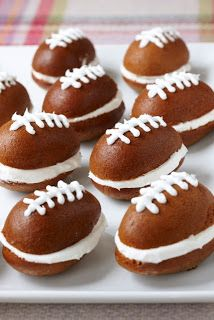 Obsessed! These mini football whoopie pies are made using boxed pumpkin bread mix in egg shaped muffin pans and cool whip for the icing. Football Party Foods, Football Food, Football Cakes, Football Parties, Football Treats, Football Desserts, Football Tailgate, Football Brownies, Tailgate Parties