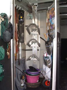 Horse trailer organization and living quarter renovation site Horse Trailer Organization, Tack Room Organization, Horse Camp, Horse Gear, Horse Tips, Horse Stalls, Horse Barns, Horses And Dogs, Show Horses