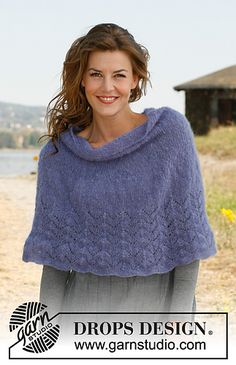 "Shoulder snuggle - Knitted DROPS poncho with lace pattern in ""Vivaldi"". Size: S to XXXL - Free pattern by DROPS Design Knit Shrug, Knitted Poncho, Knitted Shawls, Capelet, Lace Shawls, Cozy Knit, Knit Cowl, Poncho Knitting Patterns, Shawl Patterns"