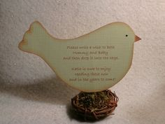 Wish tag instruction card - personalized bird in bird nest - for wedding reception, bridal shower, baby shower, birthday party, etc.