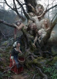 """Fairies and the Peasant Girl"" by Yuliya Litvinova : Fantasy Dark Fantasy Art, Fantasy Kunst, Dark Art, Arte Horror, Horror Art, Art Sinistre, Arte Obscura, Fairytale Art, Fairytale Quotes"
