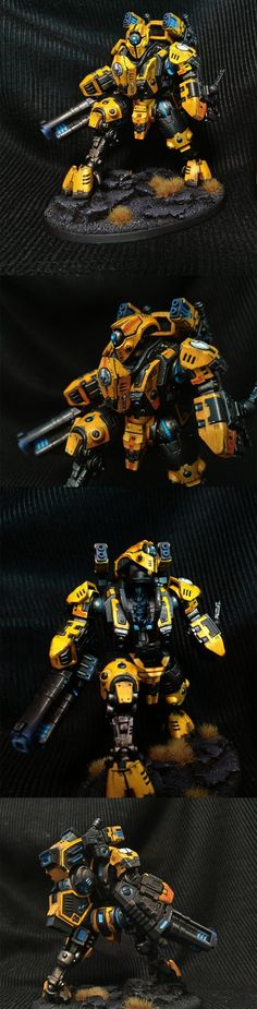 The Internet's largest gallery of painted miniatures, with a large repository of how-to articles on miniature painting Warhammer 40k Games, Tau Warhammer, Warhammer 40k Figures, Warhammer Paint, Warhammer Models, Warhammer 40k Miniatures, Tau Battlesuit, Tau Army, Miniaturas Warhammer 40k