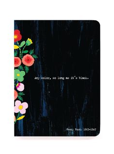 """JOURNALS :: Notebooks with Perfect Binding :: 4x5"""" perfect bound :: Black Colourful Quote Notebook - Ecojot - eco savvy paper products"""