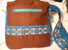 Cocoa Linen & Turquoise Cotton Messenger Bag W/ by attickpatchwork, $44.00