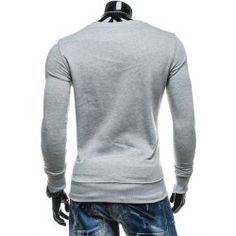 Zipper Embellished 76 Graphic Print Crew Neck Long Sleeve Sweatshirt - Light Gray - M - LIGHT GRAY M