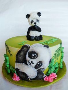 Panda cake by Veronika Panda Bear Cake, Bolo Panda, Panda Cakes, Panda Birthday Cake, Happy Birthday Cake Images, Cupcakes, Cupcake Cakes, Gorgeous Cakes, Amazing Cakes