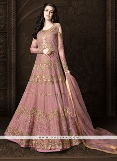 0701b1b9ad7  Pink  Net  Embroidered  Anarkali  Suit Indian Suits