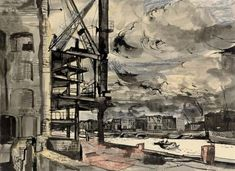 Artwork by John Minton, Rotherhithe, Made of ink and coloured crayon Drawing Artist, Artist Art, Artist At Work, John Minton, London Painting, City Scapes, London Places, London Art, Work Inspiration