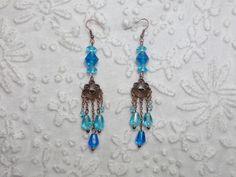 Boucles d'oreilles bohème perles verre bleu aquamarine métal cuivre sans nickel : Boucles d'oreille par bijouxdart