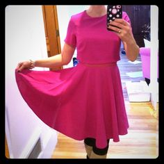 Hot pink ASOS fit and flare dress Hot pink ASOS fit and flare dress with attached faux crop top Full twirling skirt!! US2, UK6 EUC!  Short sleeves.  Fully lined and mesh under where top and skirt meet. Zipper back - so cute! 34 inch length ASOS Dresses