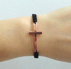 Rose gold Cross bracelet, sideways cross bracelet, mother gift idea for her, religious jewelry, hand knotted macrame bracelet