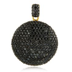 Gold and Black Rhodium Plated Black Spinel Studded Pendant in Sterling Silver