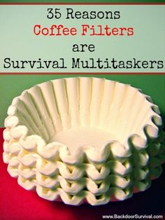 35 Reasons Coffee Filters are Survival Multitaskers Coffee filters are inexpensive, light weight and readily available. 29 uses of coffee filters for survival and preparedness, including makeshift rags and TP. Wilderness Survival, Camping Survival, Outdoor Survival, Survival Prepping, Survival Skills, Camping Gear, Homestead Survival, Doomsday Prepping, Outdoor Camping