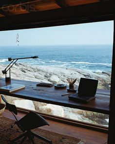 Wood Plank Desk in Front of Window with View of Ocean [ Specialtydoors.com ] #office #hardware #slidingdoor