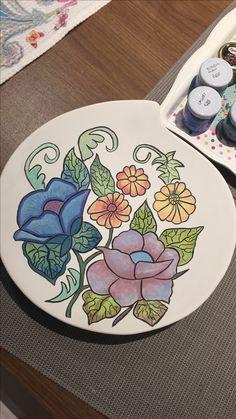 #çini #tabak #çiçek #desen #elyapımı #hobi