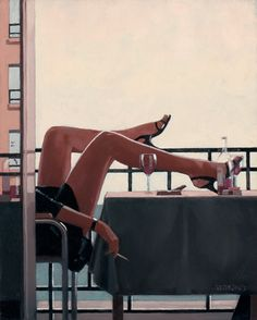 Jack Vettriano. The Temptress. I love this.  Careless free abandon whilst watching the world go by